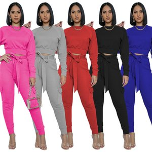 womens sportswear long sleeve pantsuit outfits shirt pants 2 piece set skinny shirt tights sport suit pullover pants hot selling 9222
