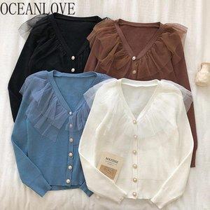 OceanLove dentelle Patchwork Volants Pull Doux printemps 2020 Automne Cardigans solides col en V élégant Sueter Mujer 13902