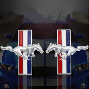3d ملصقات السيارات المعدنية موستانج تشغيل الحصان درابزين الجانب شعار شارة ملصق فورد موستانج شيلبي GT الخلفية جذع صائق سيارة التصميم