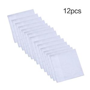 12Pcs Set 40x40cm Men Women Cotton Handkerchiefs Pure Hankies Jacquard Striped Pocket Square Towel DIY Painting 201028