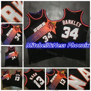 Mitchellness Basketball Vintage Steve 13 Nash Charles 34 Barkley Jersey Mesh Broderie maille cousue Mesh Broderie Logos Shirt STITCHED STATCH