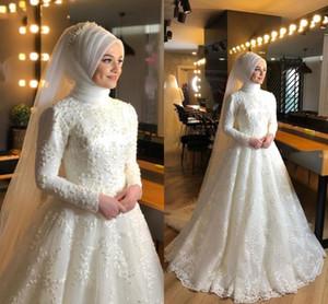 Muslim Wedding Dresses Jewel Neck Long Sleeve Sweep Train Lace A Line Bridal Gowns Dubai Arabic vestidos de novia Plus Size L73
