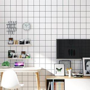 Background Linha simples Wallpaper coreano preto listrado branco não tecido adesivo parede Sala Crianças Quarto Nordic Wallpaper