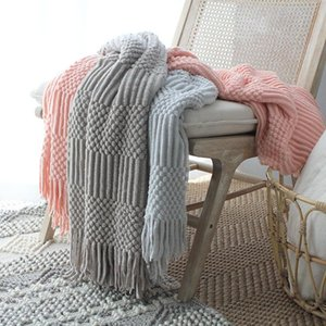 Plaid Sofa Bed Knitted Blanket with tassel Nordic Style Travel Car AirCondition Hubble-bubble Knit Throw Blanket Cover Bedspread