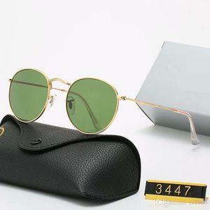 2021 Classic Design Brand Round Sunglasses UV400 Eyewear Metal Gold Frame Bans Glasses Men Women Mirror glass Lens Sunglasses with box