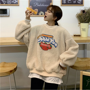 Women Autumn winter Loose print Fake two Pieces pullover Teen Girls Student Imitation Lamb hair Long sleeve Round neck Hoodie 201012