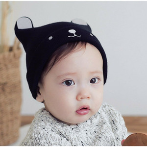 Winter new baby children's knitted hats warm embroidery cartoon ear caps baby cotton thread caps