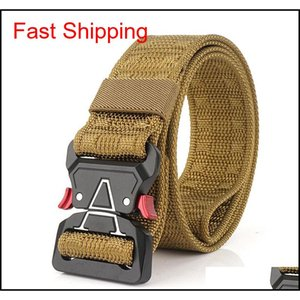 Men'S Tactical Belts Heavy Duty Work Belt Quick-Release Webbing Nylon Belts With Metal Buckle For Outdoor Sports Travel Hiking Be7Fy