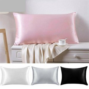 20*26inch Silk Satin Pillowcase Home Multicolor Ice Silk Pillow Case Zipper Pillow Cover Double Face Envelope Bedding Pillow Cover