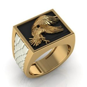 Domineering Men Black Enamel Eagle Ring Fashion Punk Hip Hop Jewelry Anniversary Birthday Gift Mens Wedding Banquet Party Ring