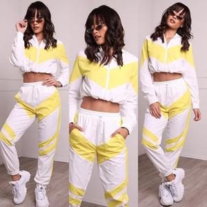 ZOGGA Printemps Femmes Survêtements Blanc Jaune Brochage Couleur Joggings Pantalon fitness Mode Tops Femme 2 Pièces tenues Sets