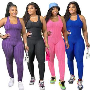 Artı Boyutu Tulumlar Bayan Seksi Çapraz Backless Tankları Tulum Yaz Katı Renk Ince Kadın OnlarıZize Giysileri