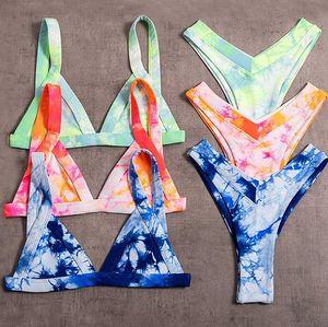 Imayio Tie dyeing Bikinis Set Thong Swimming Suit for Women Bownot 2019 Swimwear Bathing Suit Sexy Beach wear 1004