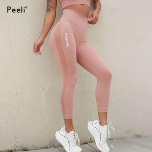 Peeli высокой талией Бесшовные Женщины Фитнес Push Up Йога Леггинсы животика управления Спортивные штаны Gym Одежда