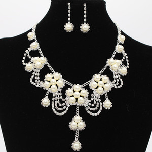 Hot Sale Bridal Jewelry 3 Pcs Necklace Earrings Crystal Pearls Accessories Claw Chain Diamond In Stock Fast Shipping High Quality