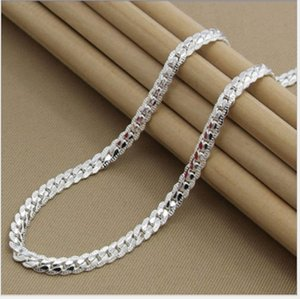 5MM Side Chain Silver Necklace Fashion Luxury Jewerly 18k Yellow Gold Cuban Chain for Women and Men 20inch)