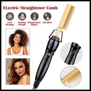 Electric Hair Curler Comb Wet and Dry Use Hair Curling Iron Straightener Comb Copper 110-240V Hair Styling Tools