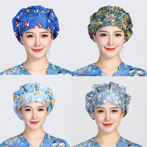 Bouffant Scrubs Hats Women Christmas Flower Printed Cotton Sweatband Cap Reuseable Head Cover Work Wear Breathable Scrub Caps