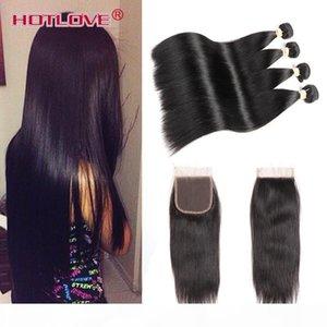 Good barato 8A Virginal Hair 4 paquetes Peruanos Peinados rectos Tejido con cierre 100% Sin procesar Humano Straight 4 PCS Pelo con cierre de encaje