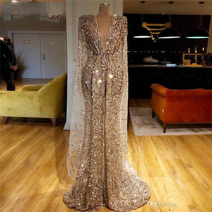 Gold Glitter Pal Robes Arabe Dubaï Sequins Perles Vol Vol Mermaid Robes de soirée Luxe Manches Longues Robe de Pageant sur mesure