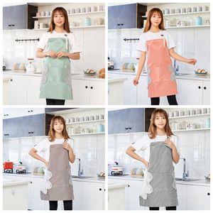 Водонепроницаемый масляный доказательство стираемой рукой кухонный фартук талия женский ресторан рабочие фартуки платье шеф-повар нагрудник домохозяйственный инструмент LLS708