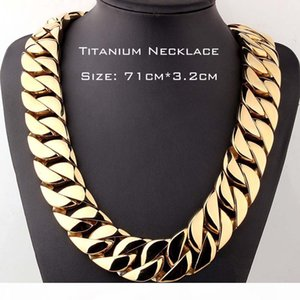 Top Quality Real Titanium Steel Jewelry Heavy Curb Cuban Link Necklaces For Men's Exaggerated Gold Chain 71cm*3.2cm