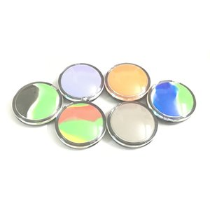 New Silicone Honey Oil Wax Concentrate Container 6 Ml Mirror Clam Shell Non-stick Silicon Dry Herb Dabber Box 50 Pcs lot