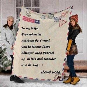 Coral Fleece Blanket Message Letter Personalized Printing Soft Warm Throw Blanket Message Letters Home Bedroom Textile DDA758