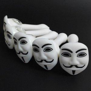HDot # السلطانية زجاج اليد الرماد قناع الوجه التدخين مواسير الأنابيب مع الأبيض بوصة ملعقة الماسك 5.12 سيليكون بيركس النفط V Sbvpf