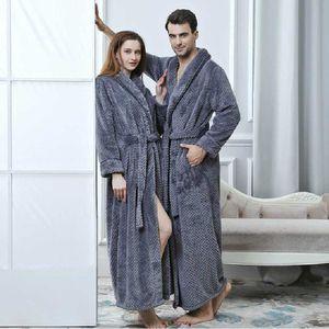 Men Women Autumn Winter Plus Size Long Coral Fleece Bathrobe Cozy Robes Night Sleepwear Women Dressing Gown Loose Home Wear Towel