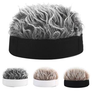 Fälschungs-Haar-Perücke Sun Cap für Männer und Frauen Lustig Cool Hip Hop Cap Short Melon Solid Color Skullcap Baggy Retro Ski Fischer