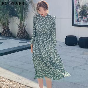 BGTEEVER Elegant Stand Collar Ruffles Women Dress Full Sleeve Elastic Waist Female Chiffon Dress Spring Midi Vestidos femme 201016