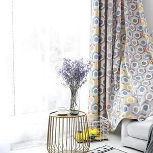 Renk petek modern basit Avrupa perde oturma odası yatak odası için pamuk keten baskılı pencere perde ekranı ev dekor cus
