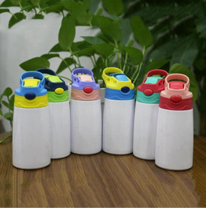 12oz 350ml Sublimation Sippy Cup DIY Child Water Bottle With Straw Lid Portable Stainless Steel Drinking Tumbler Kid Mug SEASHIPPING LJJP672