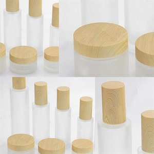 Diy Lotion Pump Cream Containers Empty Perfume Cosmetic Jars Emulsion Wood Grain Cover Frosted Glass Bottles Clean2 83fy F2