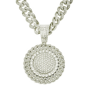Mens Hip Hop Iced Out Sunflower Pendant Necklace Bling Diamond Rhinestone Cuban Chain Punk Necklaces for Women Men Statement Jewelry 149 M2