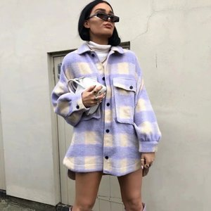 Fashion oversize wool coat women pladi jackets vintage long sleeve jacket and coat ladiescoat outerwear 2020 streetwear