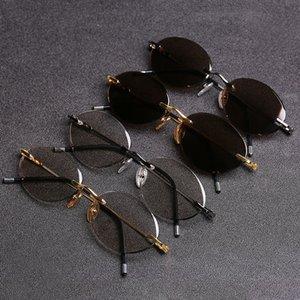Evove Gözlük Güneş Gözlüğü Taş Rimless Cam Erkekler Vintage Lens Kadınlar için Retro Erkek Oval Sun Gnbse