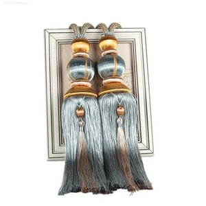 1 pair Rope Tiebacks For Curtain Accessories Pearls Beaded Tassel Hanging Ball 40