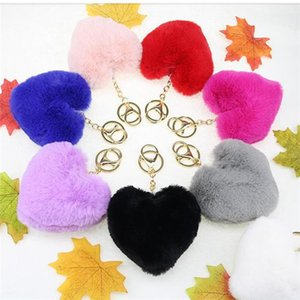 Trendy Heart Ball Pom Pom Keychain Fluffy Faux Rabbit Fur Pompom Key Chains Women Bag Charms Trinket Accessories Keyring Llavero