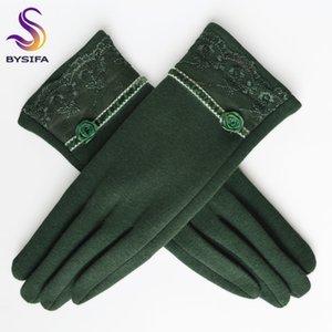 [BYSIFA] Cashmere Frauen-Winter Thick-Damen Spitze gestickte Wolle Grau und Grün Elegante weiche Handschuhe Handschuhe