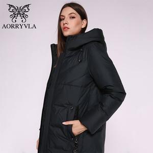 AORRYVLA 2019 Nueva Moda Capucha para mujer Larga Parka Abrigo Grueso Cálido Biológico Biológico Down Chaqueta Invierno