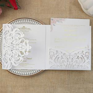 Ivoire Shimmer Personnalisé Imprimé Laser Cut Mariage Invitations de mariage avec carte de poche Cartes de vœux bricoleurs pour l'anniversaire Business Party