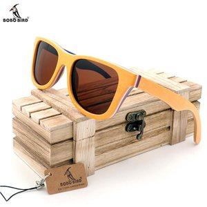 Bambú en madera Dropshipping Wood de Sol Gafas de sol Polarizados Hombres Oculos Bird Regalo Box Bobo ECHXD