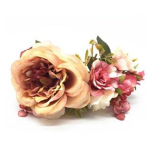 Luxurious Flower Wreath Wedding Bridal Hair Flower Party Crown Floral Garland Bridesmaid Hair Accessories Headpiece He qylnyE