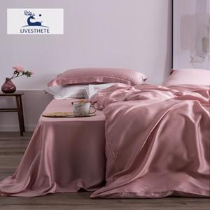 Liv-Esthete Top Grade 100% Silk Pink Bedding Set Mulberry 25 Momme Women Bed Sheet Quilt Cover Set Pillowcase Queen King Bed Set 201128