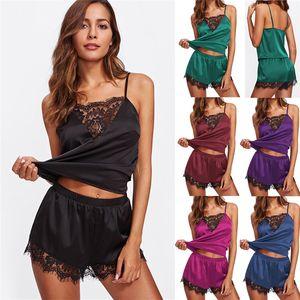 New Style Ladies Women Exotic Sets Lace Patchwork Sleepwear Lingerie Nightdress Suit Sets Sleeveless Slip Fashion Hot