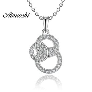 AINUOSHI Luxury 925 Sterling Silver Pendant Necklace for Women 3 Circles Round Lover Long Chain Necklace Wedding Silver Jewelry Y200107