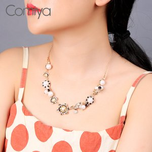 Comiya Korean Necklaces Collare Gold Color Zinc Alloy Flower Bird Pendant Arylic Pearls Maxi Necklace For Women Fashion Jewelry