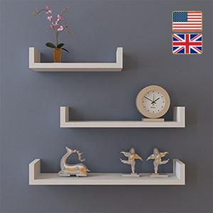 الأسهم في 3PCS المملكة المتحدة الولايات المتحدة العائمة رفوف العرض يدج رف الكتب جدار جبل التخزين الرئيسية الأبيض دروبشيبينغ